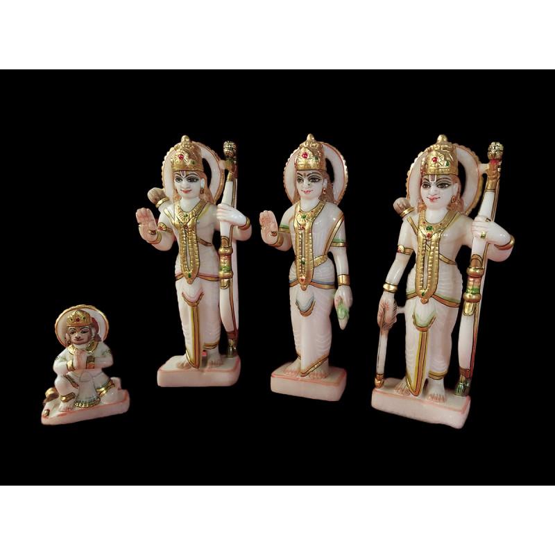 Marble Ram Darbar Set Of 4 Pcs Size 9 Inch