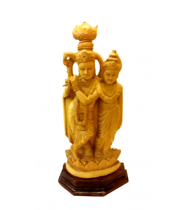 GOD FIGURE CARVED KADAM WOOD RADHA KRISHNA 16INCH