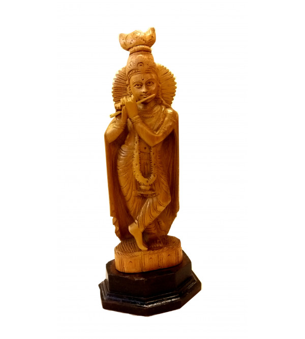GOD FIGURE CARVED KADAM WOOD KRISHNA 12 INCH