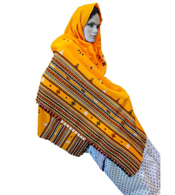 Woollen Hand  Woven Tye-Dye Shawl In Gujarat Size,40X80 Inch