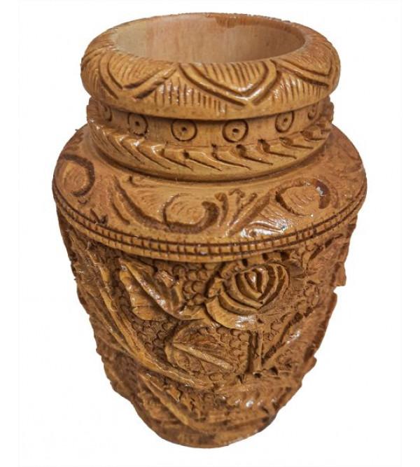 Kadam wood Kunda Pen Stand 5 Inch