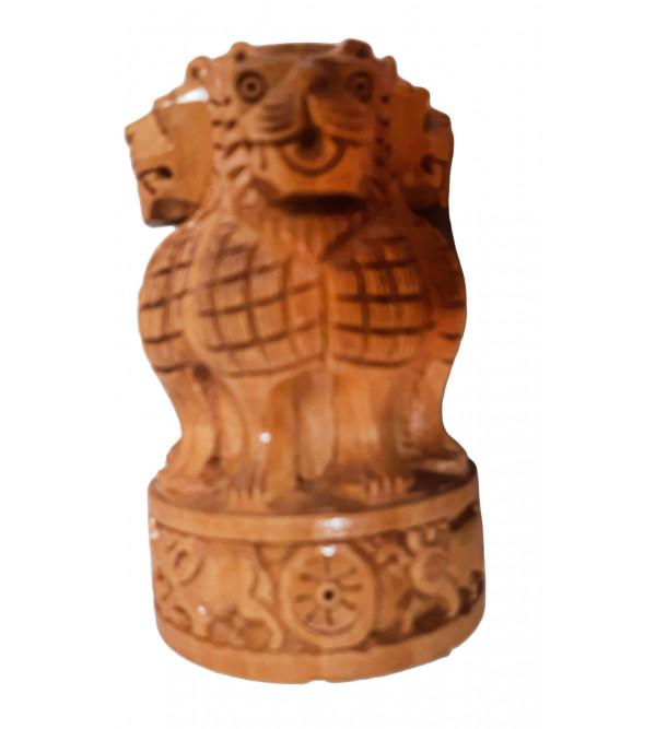 Kadam Wood Ashoka Pillar Pen Stand Size 4 Inch