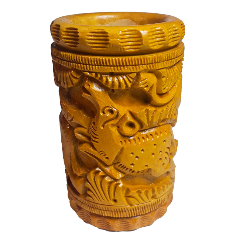 Kadamba Wood Handcrafted Carved Pen Stand