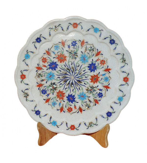 Marble Plate With Semi Precious Stone Inlay Work Size 12 Inch