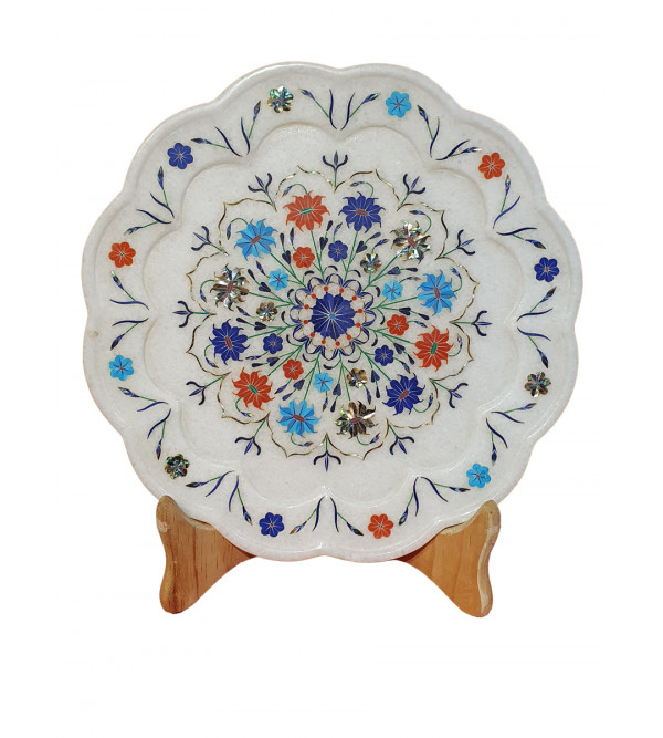 Marble Plate With Semi Precious Stone Inlay Work Size 11 Inch