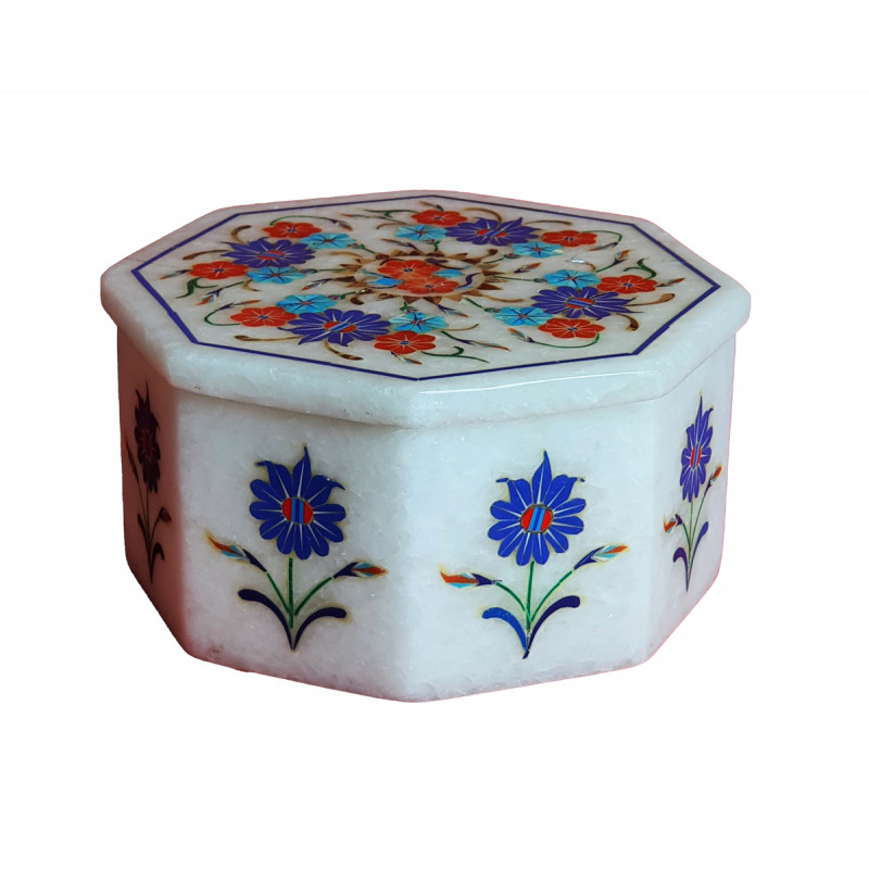 Marble Box With Semi Precious Stone Inlay Work Size 4x4 Inch