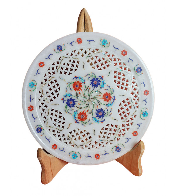 Marble Plate Handcrafted with Semi-Precious Stone Inlay Work Size 9 Inch