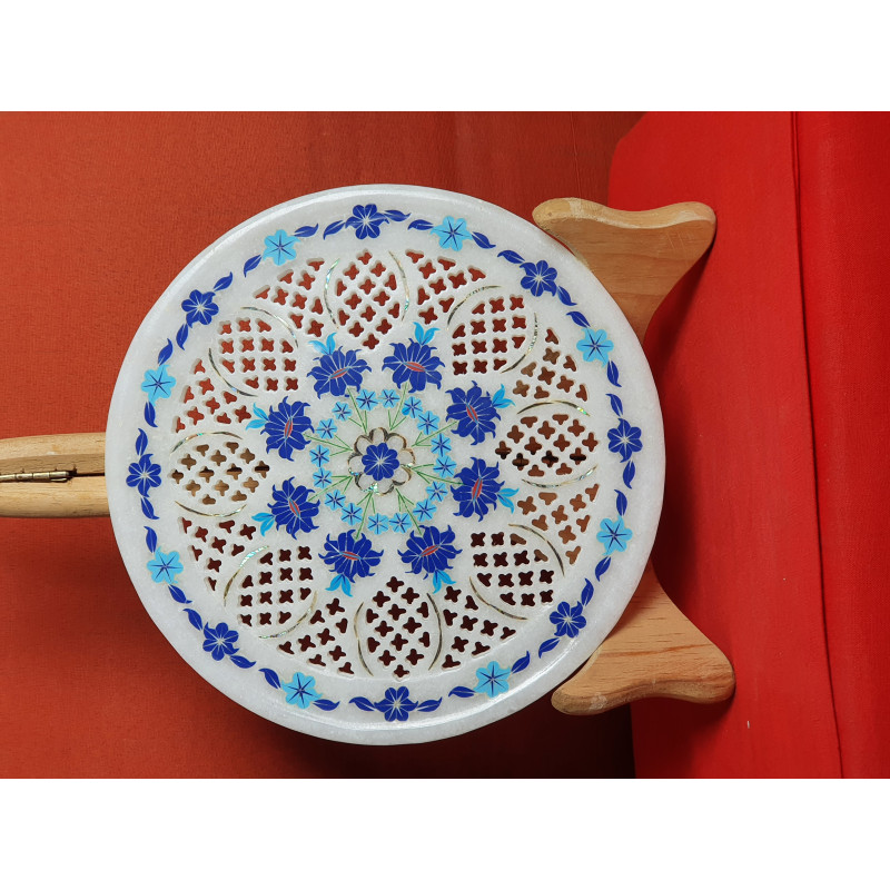 Marble Plate With Semi Precious Stone Inlay Work Size 8 Inch