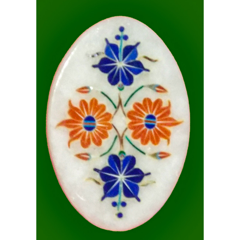 Marble Tile With Semi Precious Stone Inlay Work Size 4 Inch