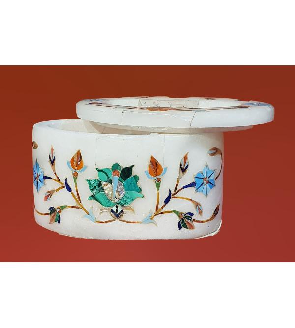 Marble Box with semi precious stone inlay Size 3.5x2.5 inch