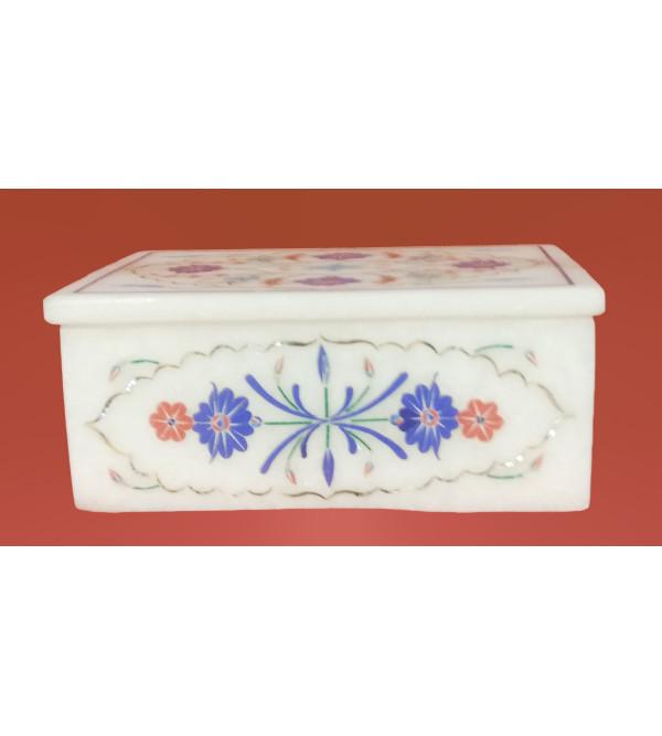 Marble Box With Semi Precious Stone Inlay Work Size 5x3.5 Inch