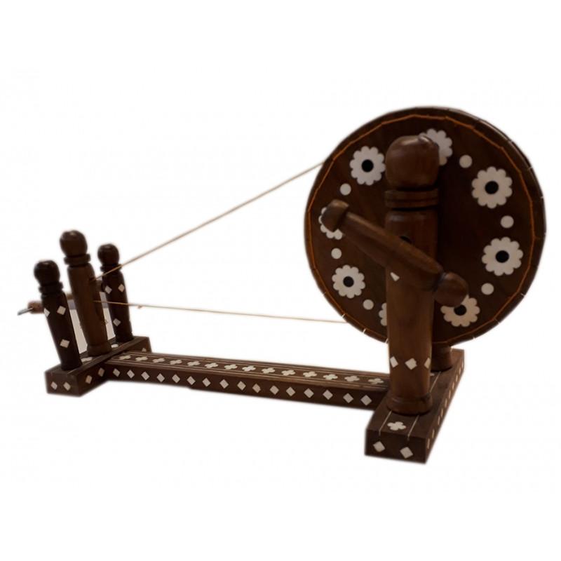 Sheesham Wood Handcrafted Spinning Wheel ( Charkha ) with Acrylic Inlay Work