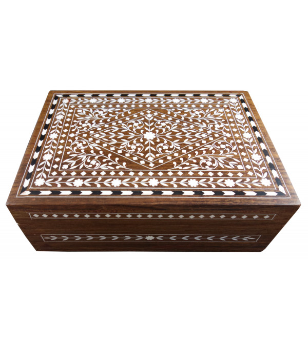 JEWELLERY BOX PLASTIC INLAY SHEESHAM WOOD (7 X 10 INCH)