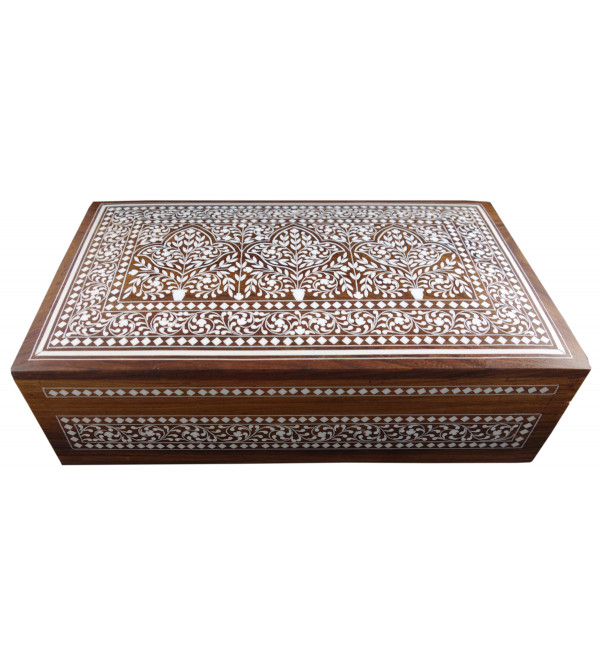JEWELLERY BOX PLASTIC INLAY (7X12 INCH) SHEESHAM WOOD