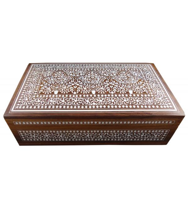 Sheesham Wood Handcrafted Jewelry Box With Acrylic Inlay Work