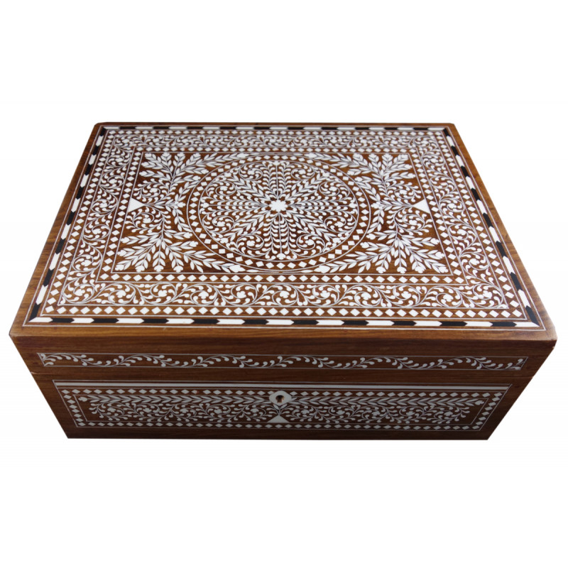 JEWELLERY BOX PLASTIC INLAY (9 X 12 INCH) SHEESHAM WOOD