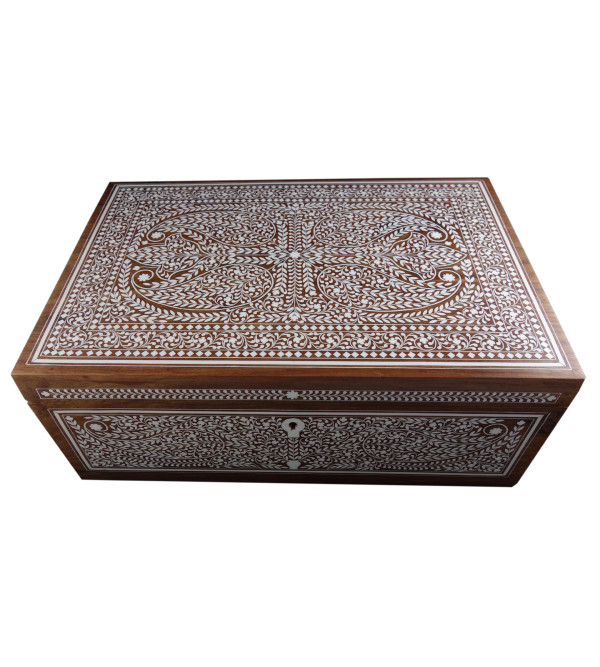 JEWELLERY BOX PLASTIC INLAY ( 10 X 15 INCH) SHEESHAM WOOD