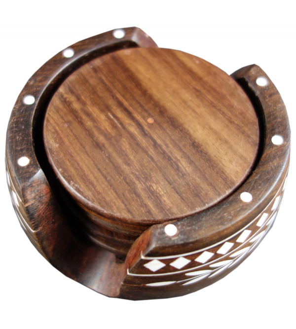 COASTER SETS PLASTIC INLAY SHEESHAM WOOD 3 INCH