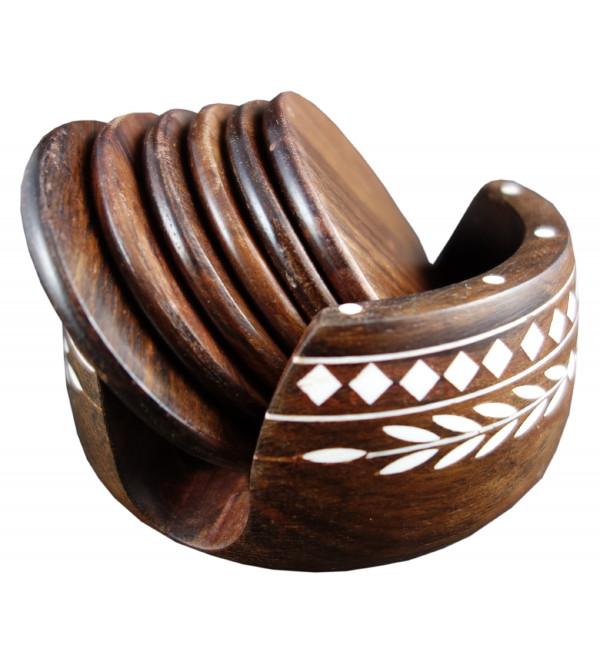 Sheesham Wood Handcrafted Coaster Set with Acrylic Inlay Work
