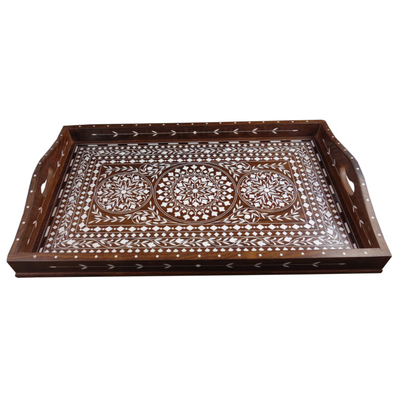 TRAY PLASTIC INLAY SHEESHAM WOOD (11 X 18 INCH)