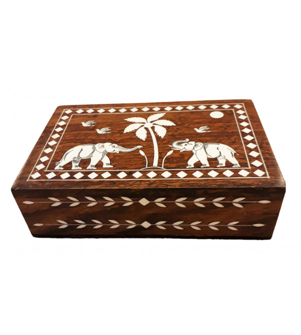 WOODEN JEWELLERY BOX PLASTIC INLAY 6 X 4 X 2 INCHES