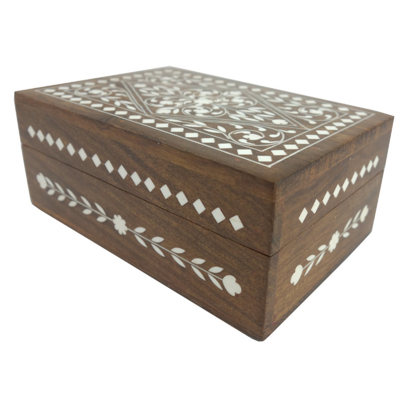 HANDICRAFT WOODEN BOX ACRYLIC INLAY WORK  7X5 INCH