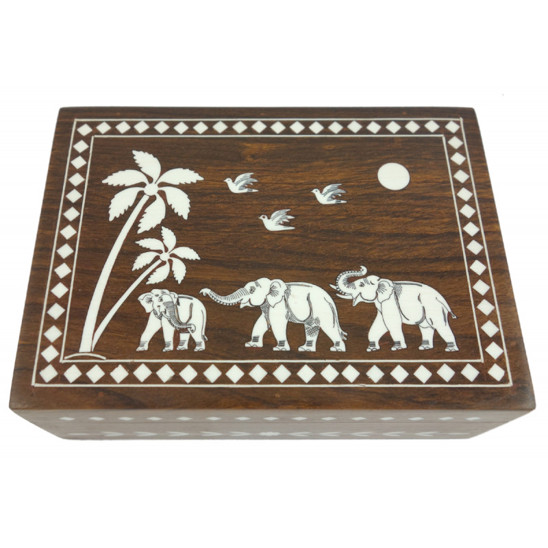 HANDICRAFT WOODEN ACRYLIC INLAY WORK 7X5 INCH JEWELRY BOX