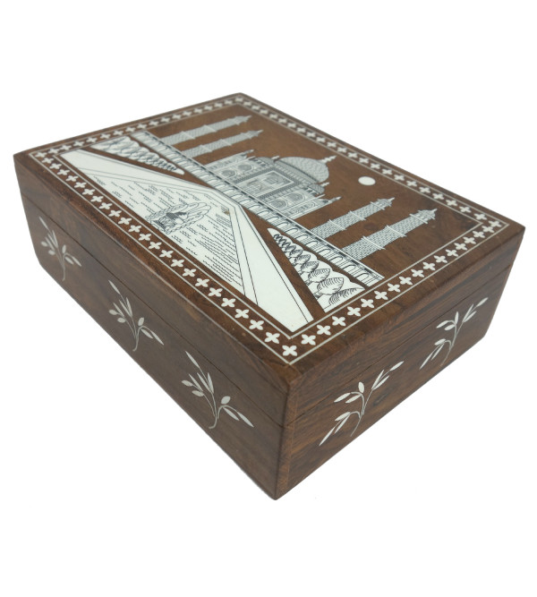 HANDICRAFT WOODEN ACRYLIC INLAY WORK JEWELRY BOX (6X8 INCH) SHEESHAM WOOD