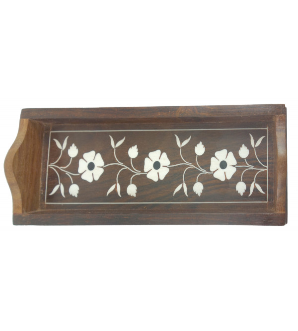 HANDICRAFT WOODEN ACRYLIC INLAY WORK PEN/ PENCIL TRAY SHEESHAM WOOD