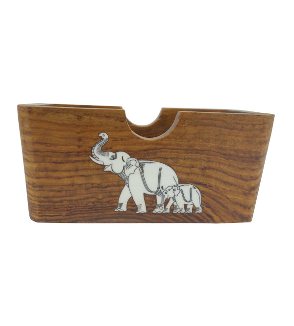 HANDICRAFT WOODEN ACRYLIC INLAY WORK VISITING CARD HOLDER SHEESHAM WOOD  4 INCH