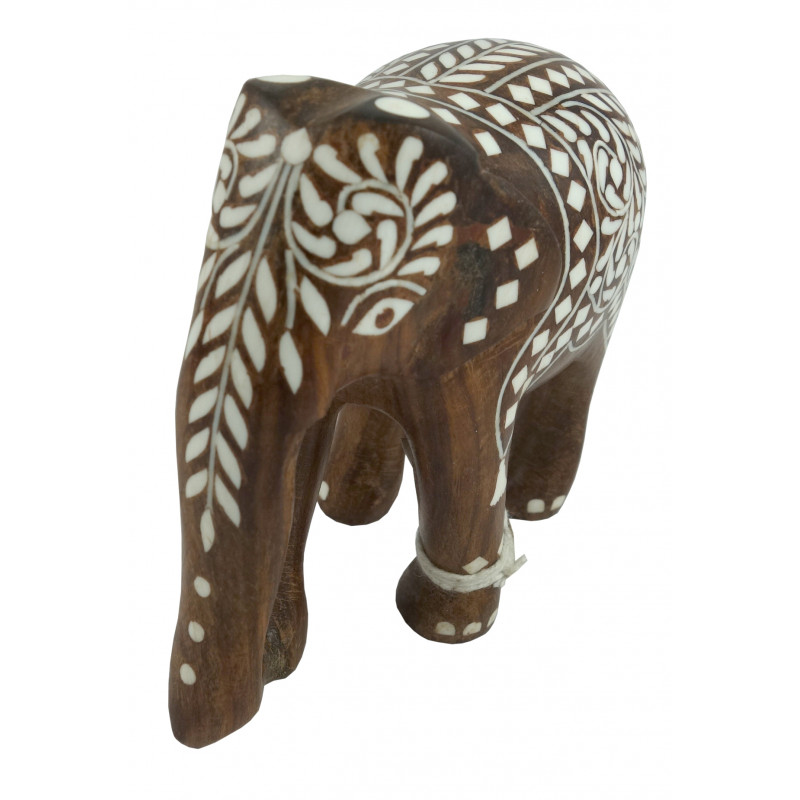 HANDICRAFT WOODEN ACRYLIC INLAY WORK ELEPHANTS CARPET SHEESHAM WOOD 4 INCH