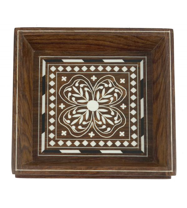 HANDICRAFT WOODEN ACRYLIC INLAY WORK TRAY SQUARE SHAPE 6X6 INCH