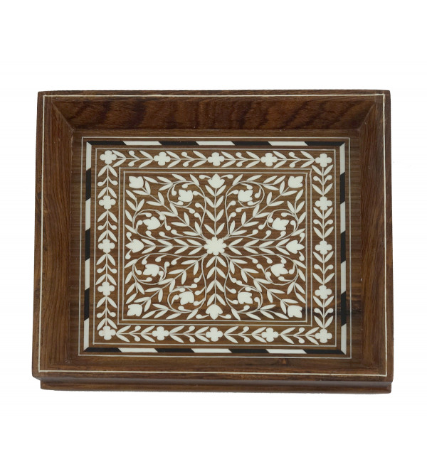 HANDICRAFT WOODEN ACRYLIC INLAY WORK TRAY SQUARE SHAPE 8X8 INCH