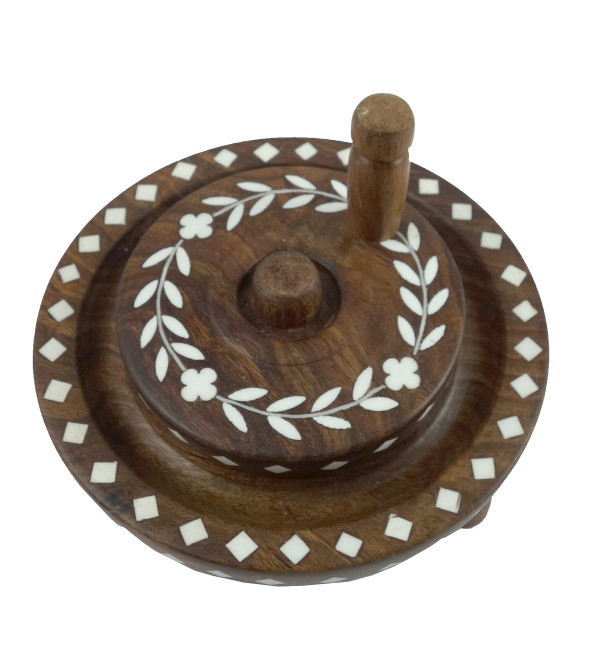 HANDICRAFT WOODEN ACRYLIC INLAY WORK CHAKKI SHEESHAM WOOD 6 INCH