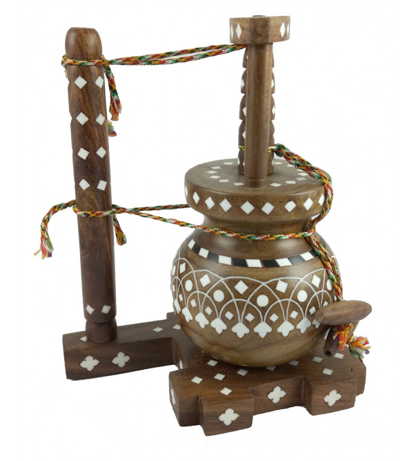 Sheesham Wood Handcrafted Butter Churner ( Kharal ) with Acrylic Inlay Work