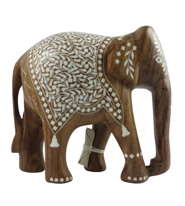 HANDICRAFT WOODEN ACRYLIC INLAY WORK ELEPHANT SHEESHAM WOOD 6 INCH
