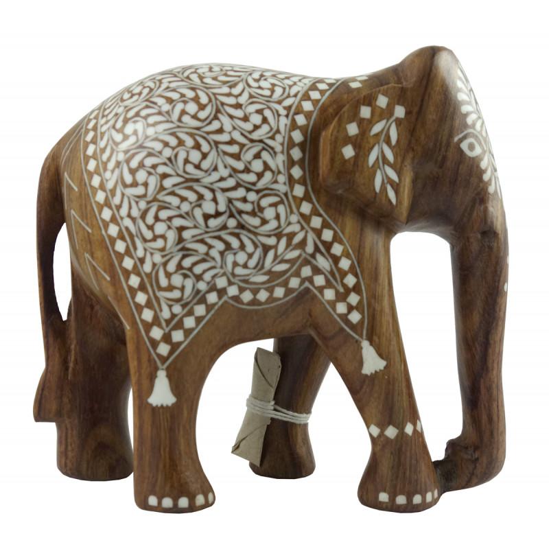 HANDICRAFT WOODEN ACRYLIC INLAY WORK ELEPHANT SHEESHAM WOOD 6 INCH