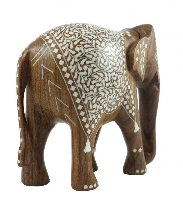 HANDICRAFT WOODEN ACRYLIC INLAY WORK ELEPHANT SHEESHAM WOOD 10 INCH