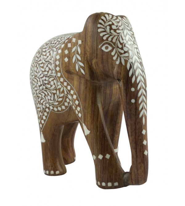 HANDICRAFT WOODEN ACRYLIC INLAY WORK ELEPHANT SHEESHAM WOOD 8 INCH