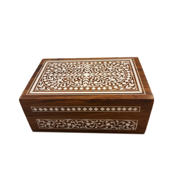 WOODE JEWELLERY BOX PLASTIC INLAYV 6 X 4 X 2 INCH