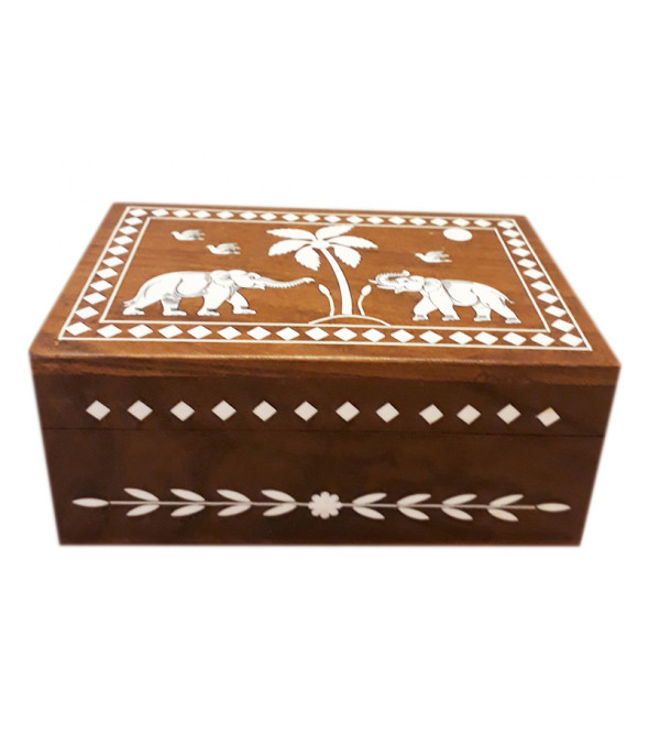 WOODEN JEWELLERY BOX PLASTIC INLAY 3 X 6 X 4 INCHES