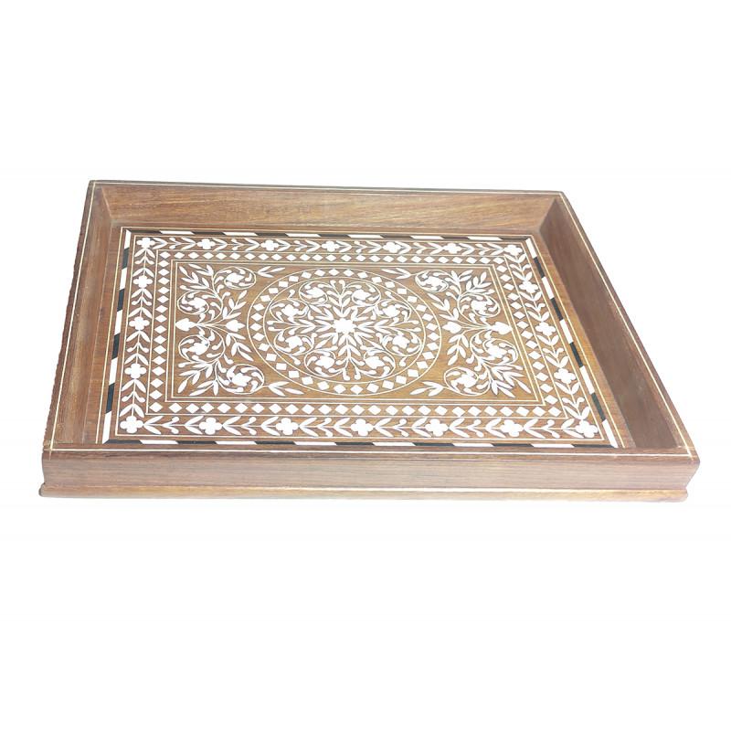 Sheesham Wood Handcrafted Tray with Acrylic Inlay Work