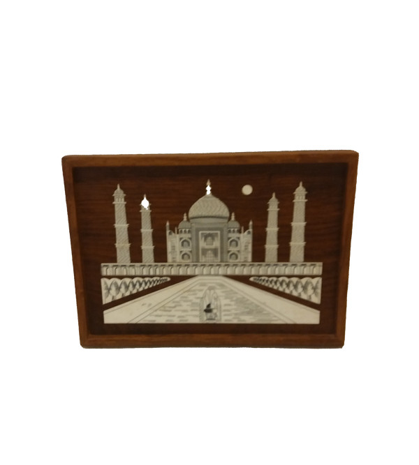 Handcrafted Wooden Inlay Work Wall Plate Taj Mahal Size 10x18 Inch