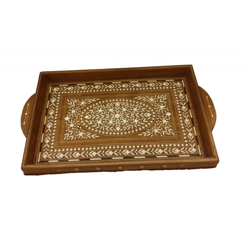 Sheesham Wood Handcrafted Tea Tray with Acrylic Inlay Work