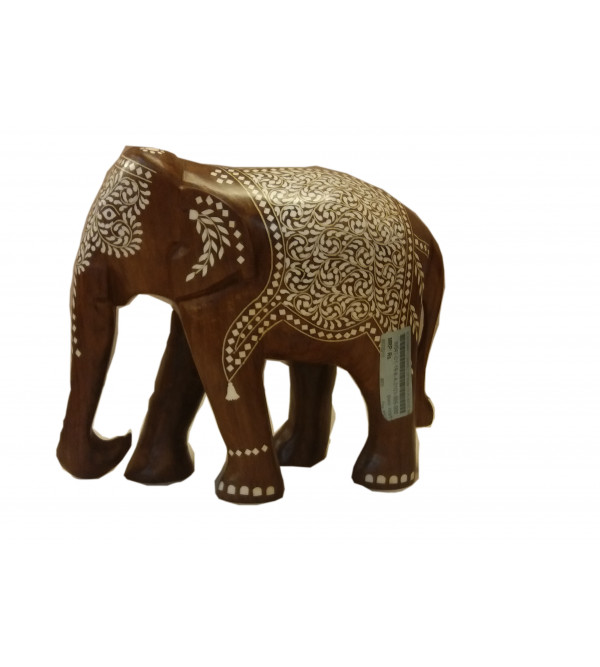 Wooden inlay Elephant Carpet Design Size 10 Inch