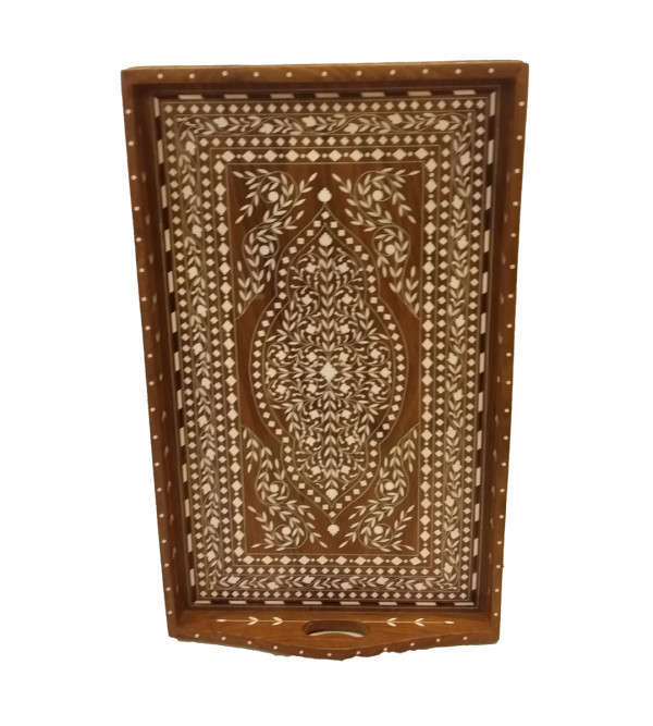 Handcrafted Wooden Inlay Work Tea Tray Size 12x18 Inch