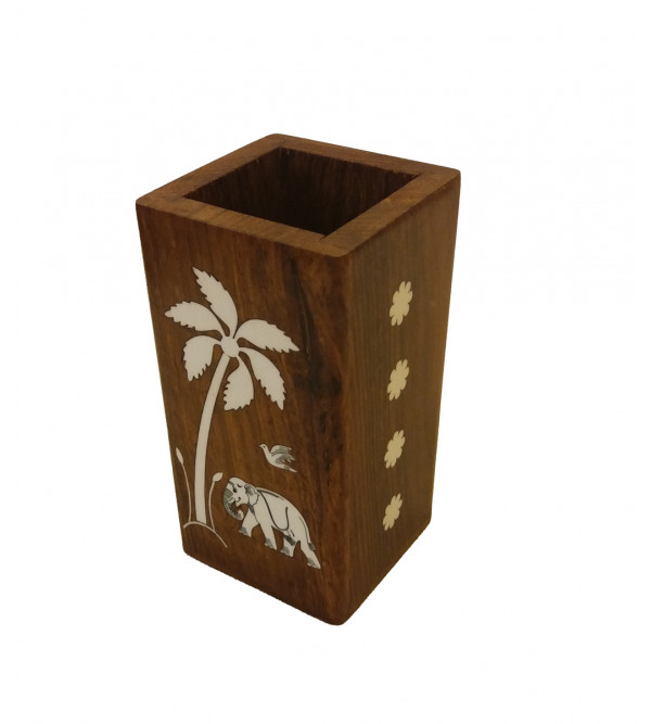 Sheesham Wood Handcrafted Pen Stand with Acrylic Inlay Work