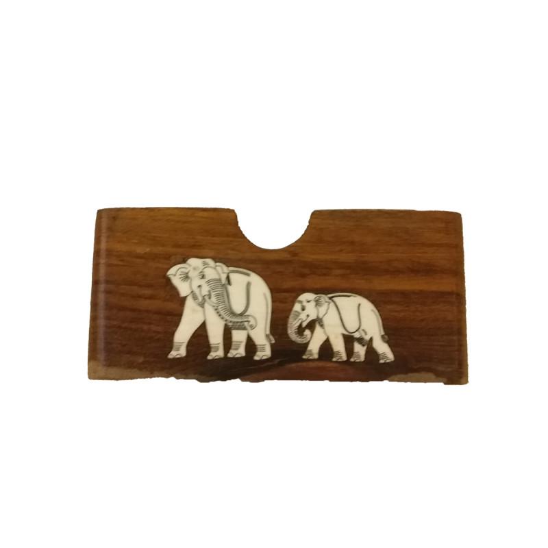INLAID VISITING CARD HOLDER PLASTIC INLAID PT7SFEX SHEESHAM WOOD 4x3 inch