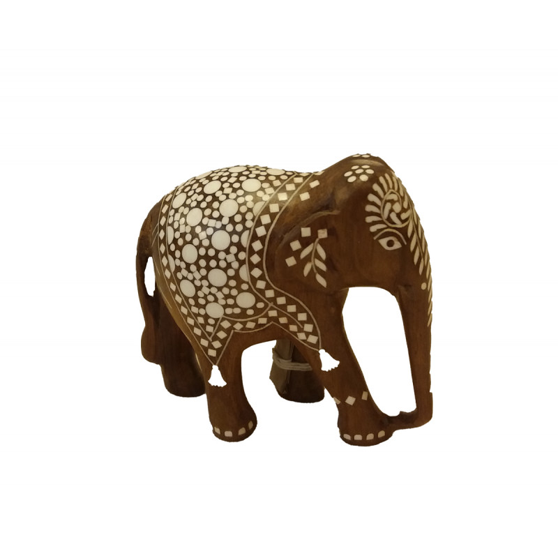 Handcrafted Wooden Inlay Work Elephant Size 5 Inch