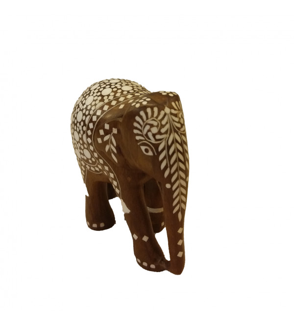 Sheesham Wood Handcrafted Elephant with Acrylic Inlay Work and Carpet Design